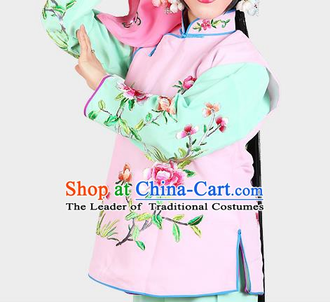 Chinese Beijing Opera Servant Girl Costume Embroidered Pink Vest, China Peking Opera Actress Embroidery Waistcoat Clothing