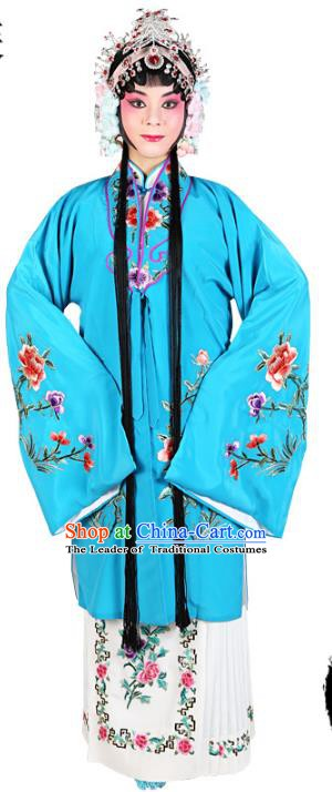 Chinese Beijing Opera Actress Embroidered Peony Costume, Traditional China Peking Opera Diva Embroidery Blue Clothing