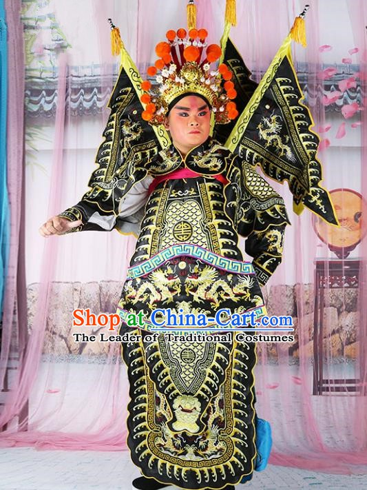 Chinese Beijing Opera General Costume Black Embroidered Robe, China Peking Opera Embroidery Gwanbok Clothing
