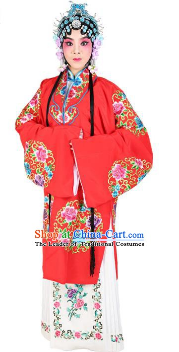 Chinese Beijing Opera Young Lady Embroidered Costume, China Peking Opera Actress Embroidery Red Clothing