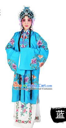 Chinese Beijing Opera Young Lady Embroidered Peony Costume, China Peking Opera Actress Embroidery Blue Clothing