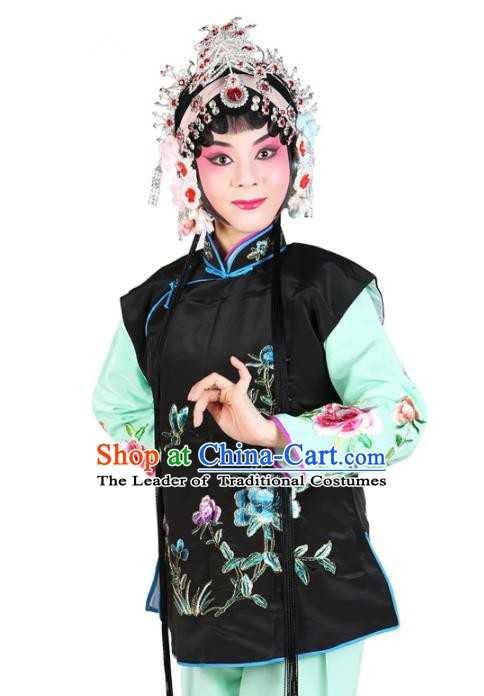 Chinese Beijing Opera Servant Girl Costume Embroidered Black Vests, China Peking Opera Actress Embroidery Waistcoat Clothing