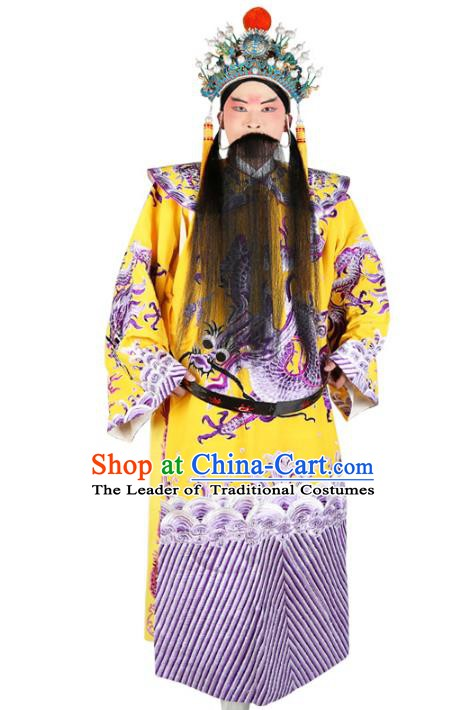 Chinese Beijing Opera Bao Zheng Costume Dragon Yellow Embroidered Robe, China Peking Opera Prime Minister Embroidery Gwanbok Clothing