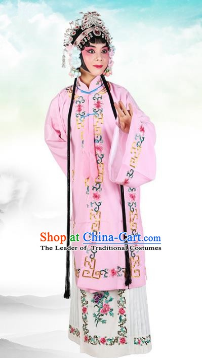 Chinese Beijing Opera Actress Costume Pink Embroidered Cape, Traditional China Peking Opera Nobility Lady Embroidery Clothing