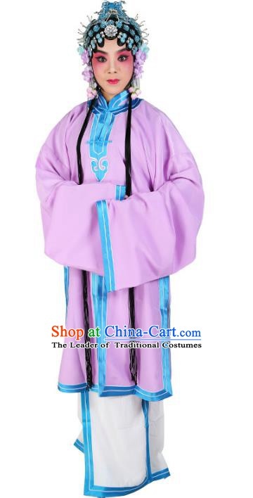 Chinese Beijing Opera Actress Costume Purple Cape, Traditional China Peking Opera Nobility Lady Embroidery Clothing
