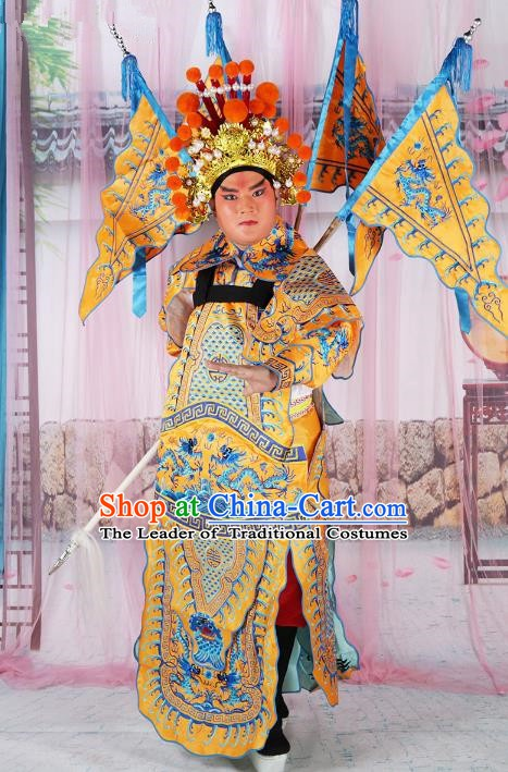 Chinese Beijing Opera General Costume Yellow Embroidered Robe, China Peking Opera Embroidery Gwanbok Clothing