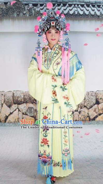 Chinese Beijing Opera Actress Nobility Lady Embroidered Yellow Costume, China Peking Opera Diva Princess Embroidery Clothing