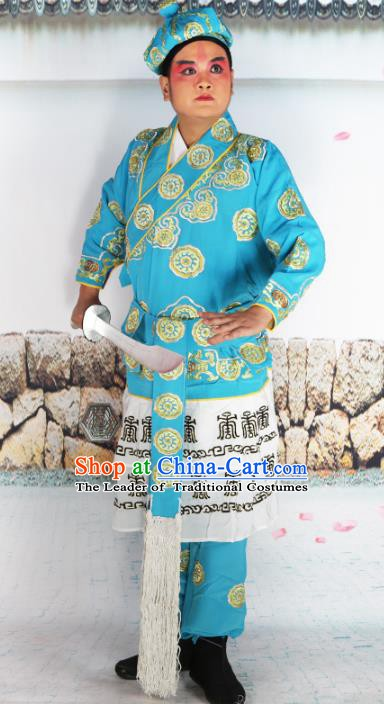 Chinese Beijing Opera Warrior Blue Embroidered Costume, China Peking Opera Takefu Embroidery Clothing