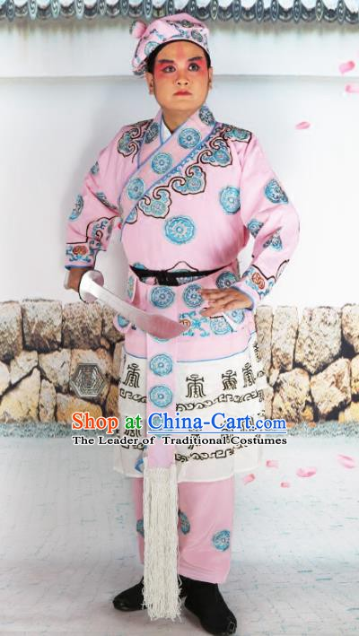 Chinese Beijing Opera Warrior Pink Embroidered Costume, China Peking Opera Takefu Embroidery Clothing