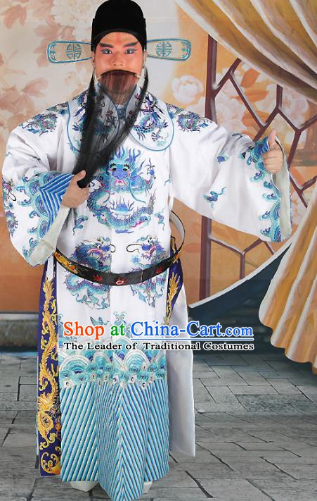Chinese Beijing Opera Bao Zheng Costume White Embroidered Robe, China Peking Opera Prime Minister Embroidery Gwanbok Clothing