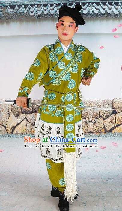 Chinese Beijing Opera Takefu Warrior Embroidered Green Costume, China Peking Opera Soldier Embroidery Clothing