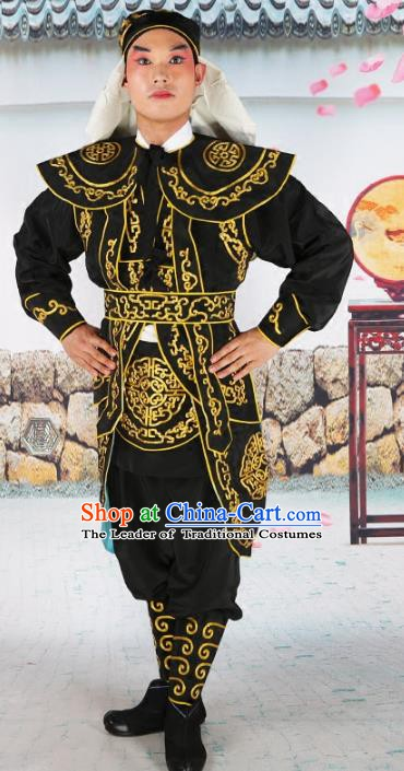 Chinese Beijing Opera Takefu Warrior Embroidered Black Costume, China Peking Opera Soldier Embroidery Clothing