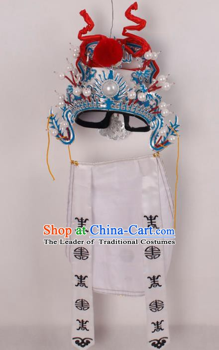 Asian Chinese Beijing Opera Prime Minister White Hat, Traditional China Peking Opera Lang Scholar Hats Headwear