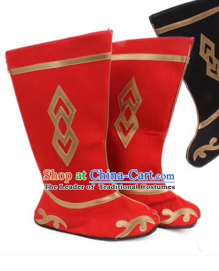 Asian Chinese Beijing Opera Takefu Red Embroidered Shoes, Traditional China Peking Opera Young Men Hanfu Boots