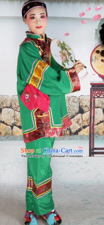 Chinese Beijing Opera Pantaloon Embroidered Green Costume, China Peking Opera Landlord Shiva Embroidery Clothing