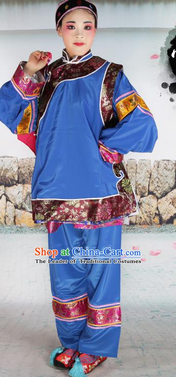 Chinese Beijing Opera Pantaloon Embroidered Deep Blue Costume, China Peking Opera Landlord Shiva Embroidery Clothing