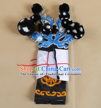 Asian Chinese Beijing Opera Takefu Black Hats, Traditional China Peking Opera Martial Role Headwear