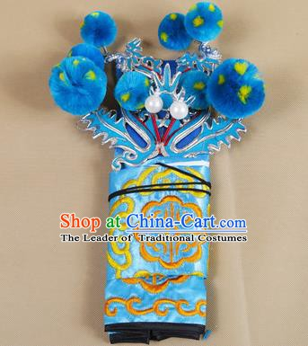 Asian Chinese Beijing Opera Takefu Blue Hats, Traditional China Peking Opera Martial Role Warrior Headwear