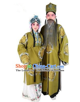 Chinese Beijing Opera Old Men and Women Embroidered Green Costume, China Peking Opera Ministry Councillor Landlord Shiva Embroidery Clothing