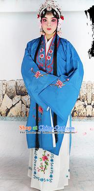 Chinese Beijing Opera Actress Nobility Lady Embroidered Blue Costume, China Peking Opera Diva Embroidery Clothing