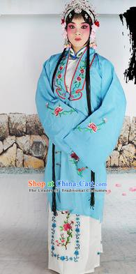 Chinese Beijing Opera Actress Nobility Lady Embroidered Light Blue Costume, China Peking Opera Diva Embroidery Clothing