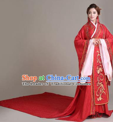 Traditional Chinese Han Dynasty Imperial Empress Wedding Costume, China Ancient Bride Hanfu Tailing Embroidered Clothing for Women