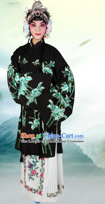 Chinese Beijing Opera Actress Embroidered Magnolia Black Costume, China Peking Opera Diva Embroidery Clothing