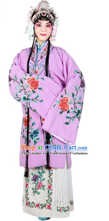 Chinese Beijing Opera Actress Embroidered Flowers Purple Costume, China Peking Opera Diva Embroidery Clothing