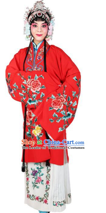 Chinese Beijing Opera Actress Embroidered Flowers Red Costume, China Peking Opera Diva Embroidery Clothing