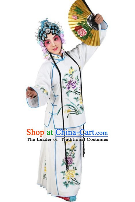 Chinese Beijing Opera Actress Young Lady Embroidered White Costume, China Peking Opera Embroidery Clothing