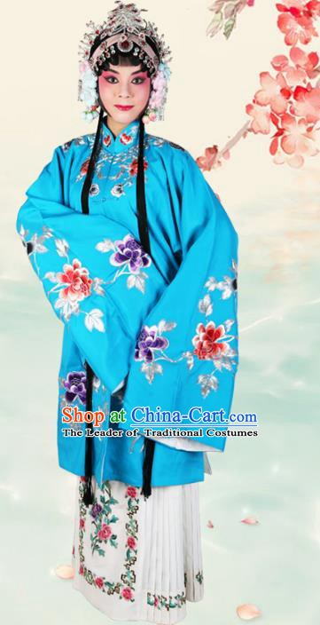 Chinese Beijing Opera Actress Embroidered Peony Blue Costume, China Peking Opera Diva Embroidery Clothing