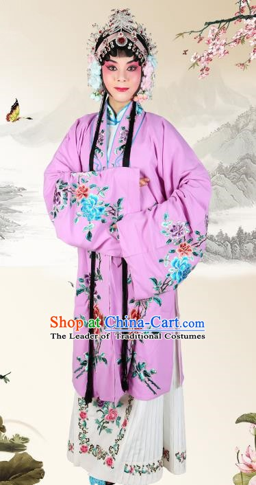 Chinese Beijing Opera Actress Embroidered Peony Purple Costume, China Peking Opera Diva Embroidery Clothing