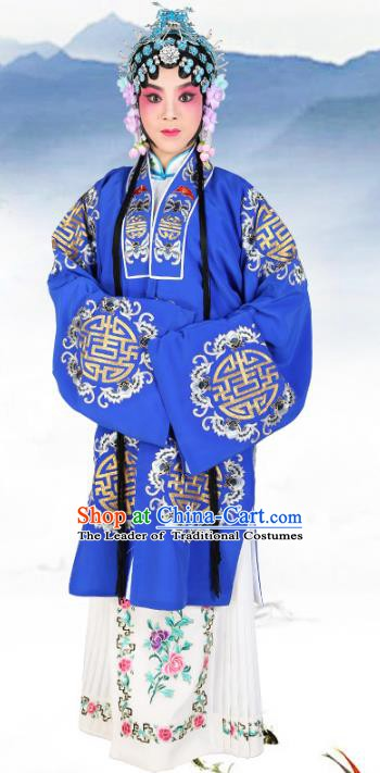 Chinese Beijing Opera Actress Embroidered Blue Costume, China Peking Opera Diva Embroidery Clothing