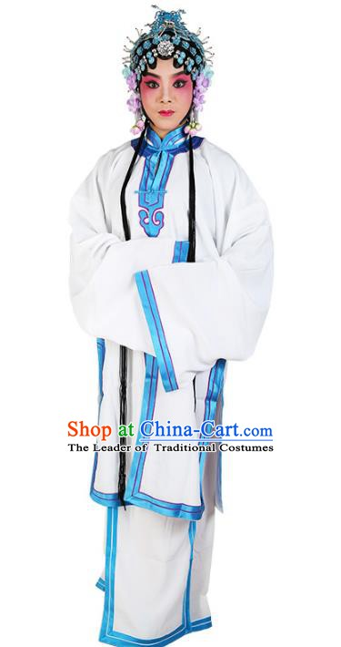 Chinese Beijing Opera Actress Young Lady White Cape Costume, China Peking Opera Tsingyi Embroidery Clothing