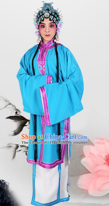 Chinese Beijing Opera Actress Young Lady Blue Cape Costume, China Peking Opera Tsingyi Embroidery Clothing