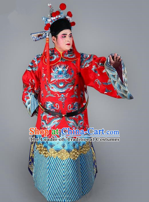 Chinese Beijing Opera Bao Zheng Costume Red Embroidered Robe, China Peking Opera Prime Minister Embroidery Dragon Gwanbok Clothing