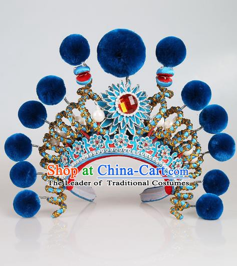 Asian Chinese Beijing Opera Swordplay Blue Hat, Traditional China Peking Opera Blues Warriors Hats Headwear