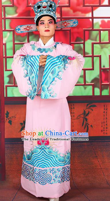 Chinese Beijing Opera Royal Highness Costume Pink Embroidered Robe, China Peking Opera Scholar Embroidery Gwanbok Clothing
