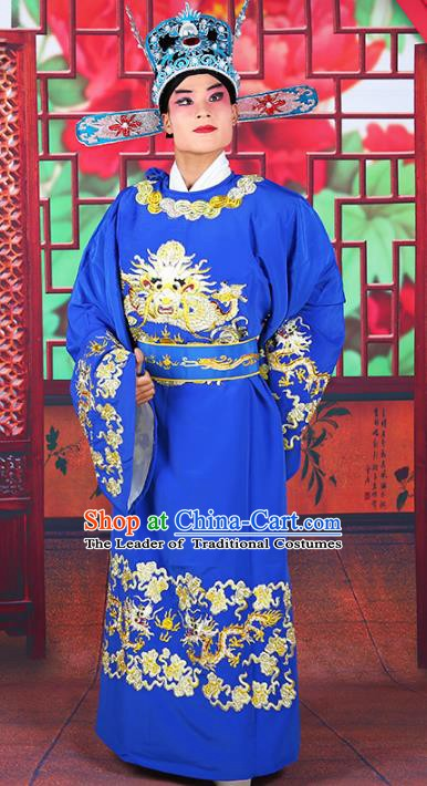Chinese Beijing Opera Royal Highness Costume Deep Blue Embroidered Robe, China Peking Opera Scholar Embroidery Gwanbok Clothing