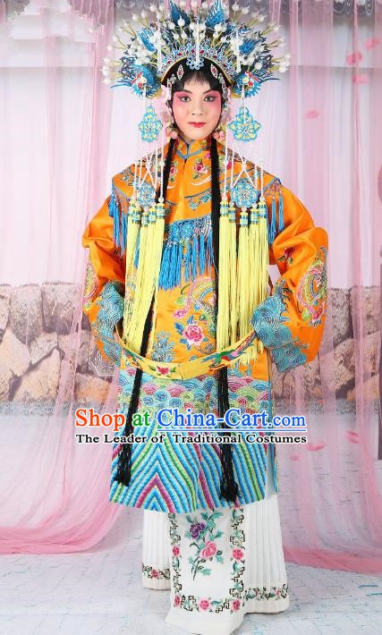 Chinese Beijing Opera Actress Imperial Empress Costume Yellow Embroidered Robe, China Peking Opera Diva Queen Clothing