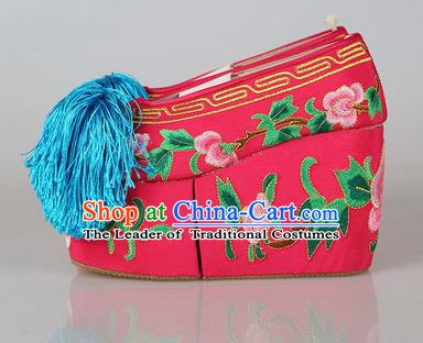 Asian Chinese Beijing Opera Actress Fuchsia Embroidered Shoes, Traditional China Peking Opera Diva Hanfu Blood Stained Shoes