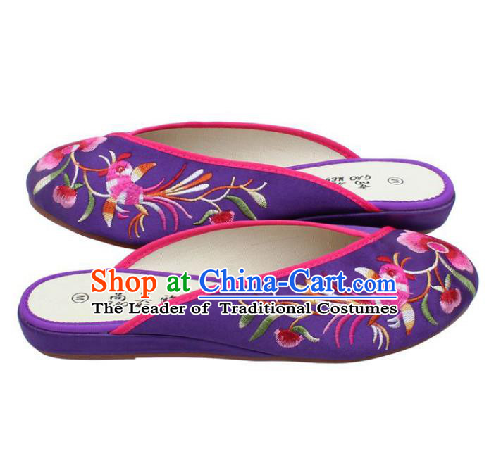Traditional Chinese National Purple Embroidered Shoes, China Handmade Embroidery Peony Hanfu Slippers for Women