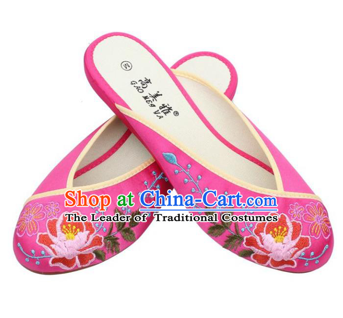 Traditional Chinese National Bride Pink Embroidered Shoes, China Handmade Embroidery Peony Hanfu Slippers for Women
