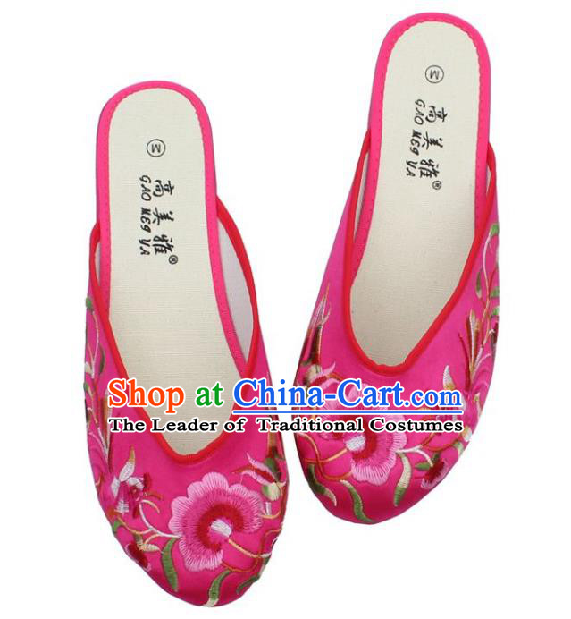 Traditional Chinese National Bride Peach Pink Embroidered Shoes, China Handmade Embroidery Phoenix Peony Hanfu Slippers for Women
