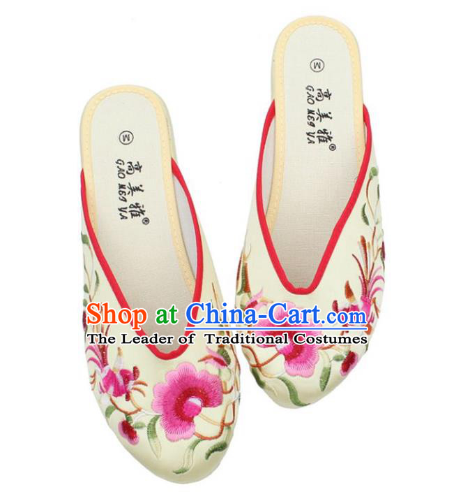 Traditional Chinese National Bride Light Yellow Embroidered Shoes, China Handmade Embroidery Phoenix Peony Hanfu Slippers for Women