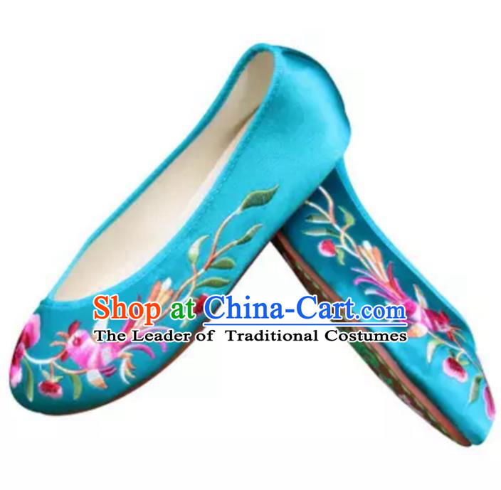 Traditional Chinese National Bride Blue Satin Embroidered Shoes, China Handmade Embroidery Phoenix Peony Hanfu Slippers for Women