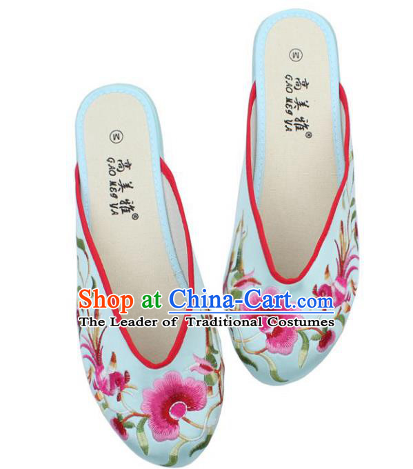 Traditional Chinese National Bride Light Blue Satin Embroidered Shoes, China Handmade Embroidery Phoenix Peony Hanfu Slippers for Women