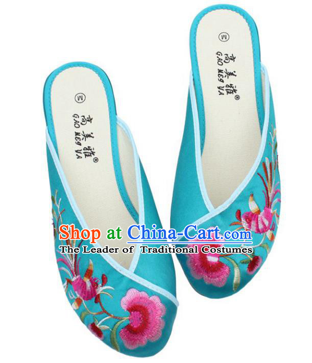 Traditional Chinese National Bride Lake Blue Satin Embroidered Shoes, China Handmade Embroidery Phoenix Peony Hanfu Slippers for Women