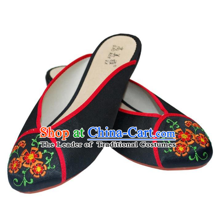 Traditional Chinese National Bride Black Satin Embroidered Shoes, China Handmade Embroidery Flowers Hanfu Slippers for Women