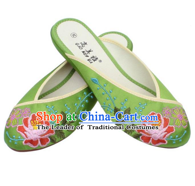 Traditional Chinese National Green Satin Embroidered Shoes, China Handmade Embroidery Peony Hanfu Slippers for Women